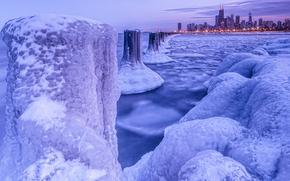 sea, pond, glacier, ice, city, lights, winter