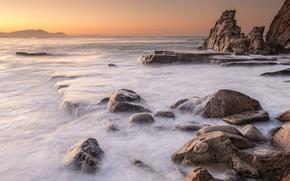 море, океан, водоем, вечер, берег, камни