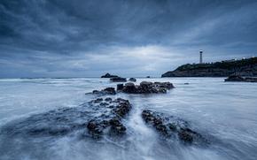 море, океан, водоем, камни, маяк