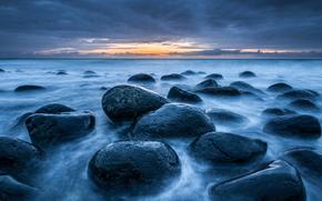 море, океан, водоем, камни, небо