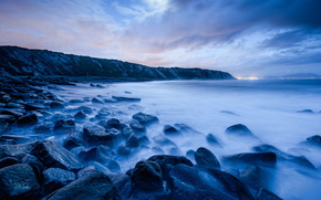 sea, ocean, pond, stones, Rocks, sky