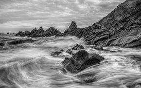 sea, ocean, pond, stones, Rocks, sky, Mono