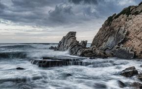 mare, oceano, pond, pietre, Rocce, cielo