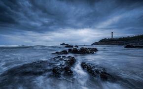 sea, ocean, pond, stones, Rocks, sky, lighthouse