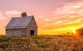 sunset, field, cabin, landscape