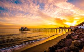 Malibu, sea, sunset, shore, PEARCE, landscape
