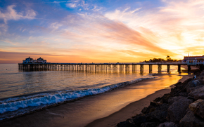 Malibu, mare, tramonto, puntellare, PEARCE, paesaggio