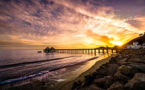 Malibu, morze, zachód słońca, Brzeg, PEARCE, krajobraz