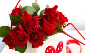 节日, 情人节, 心脏, 玫瑰, 花卉, 礼物