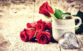vacanza, Valentine, cuore, Roses, Fiori, mug
