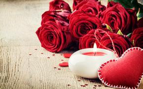 fiesta, Valentine, corazón, Roses, Flores, vela