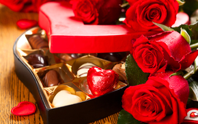 holiday, Valentine, heart, Roses, Flowers, box, Candy