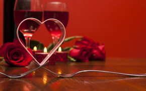 holiday, Valentine, heart, Roses, Flowers, stemware, Candles