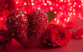 holiday, Valentine, heart, Roses, Flowers, bokeh