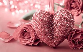 праздник, день Святого Валентина, сердце, розы, цветы, боке