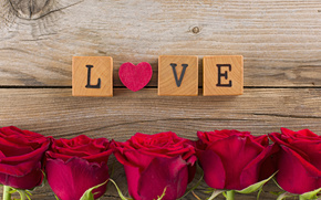 праздник, день Святого Валентина, сердце, розы, цветы, любовь, кубики