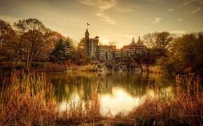 Belvedere Castle, autunno, lago, alberi, tramonto, paesaggio