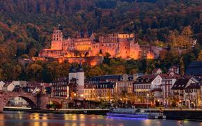 Гейдельберг, река Неккар, Германия, замок