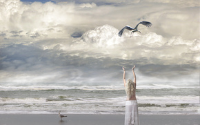 sea, waves, shore, girl, stork