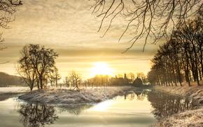 sunset, autumn, pond, trees, landscape