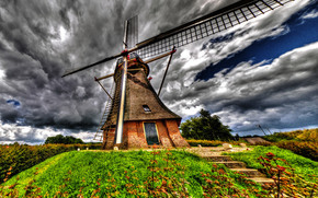 hill, mill, sky, clouds, landscape