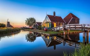 деревня Заансе Сханс, Нидерланды, закат, пейзаж
