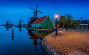 Village Zaanse Schans, Paesi Bassi, tramonto, paesaggio