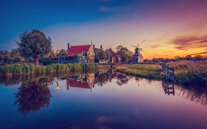 village, pond, evening, sunset, houses, province