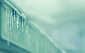 Icicles, SPRING, roof, Macro