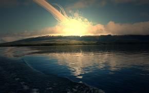 озеро, солнце, восход