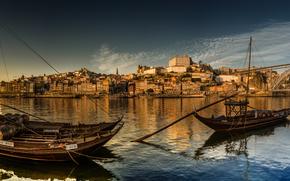 Vila Nova de Gaia, Porto, Portugal, Douro River, Вила-Нова-ди-Гая, Порту, Португалия, река Дуэро, река, лодки, мост, панорама