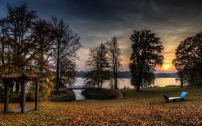 закат, парк, озеро, деревья, пейзаж