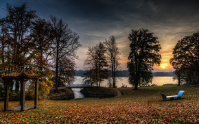 tramonto, parco, lago, alberi, paesaggio