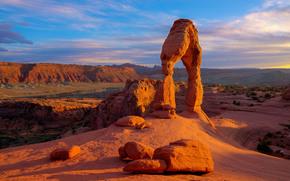 Delicate Arch, Parque Nacional Arches, puesta del sol, Rocas, arco, paisaje