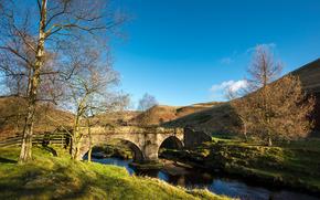 fiume, ponte, Colline, alberi, paesaggio