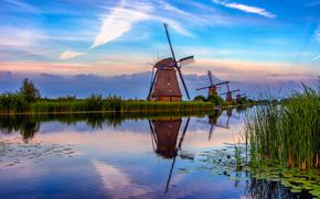 South Holland, village Kinderdijk, mill, river, channel, sunset, landscape, kinderdijk