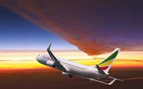 plane, sky, sunset, Ethiopian Airlines
