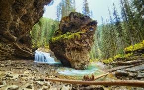 Альберта, Канада, Джонсон Каньон, водопад, скалы, пейзаж