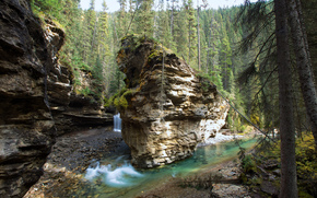 Alberta, Canada, Johnson Canyon, waterfall, Rocks, landscape