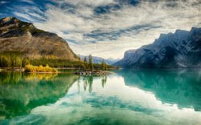 Jasper Park, Maligne Laghi, lago, Montagne, paesaggio