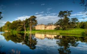 Compton Verney Manor, Warwickshire, puesta del sol, paisaje