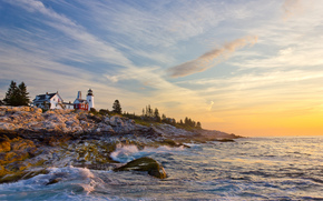Portland Head Light, Cape Elizabeth, Maine, lighthouse, Gulf of Maine, coast, sunset, landscape