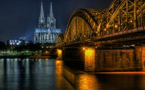 Cattedrale di Colonia, Hohenzollern Bridge, Acqua di colonia, notte
