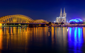 Cologne Cathedral, Hohenzollern Bridge, Cologne, night