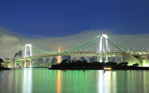 Odaiba, Rainbow Bridge, notte