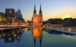 Собор Святой Марии, Сидней, ночь