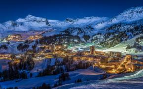 Savoie, Francia, Montagne, notte