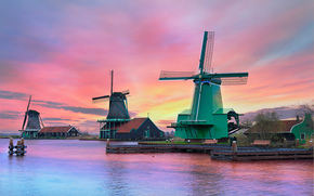 Zaanschans, Países Bajos, Amsterdam, Países Bajos, puesta del sol, molino, paisaje