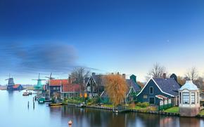 Zaanschans - Niederlande, Amsterdam, Niederlande, Sonnenuntergang, Landschaft