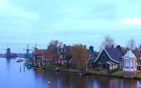 Zaanschans, Netherlands, Amsterdam, Netherlands, sunset, mill, village, home